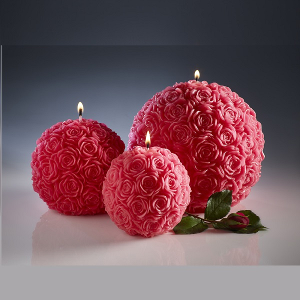 Refillable Rose Ball Candles. Red – Amelia Candles