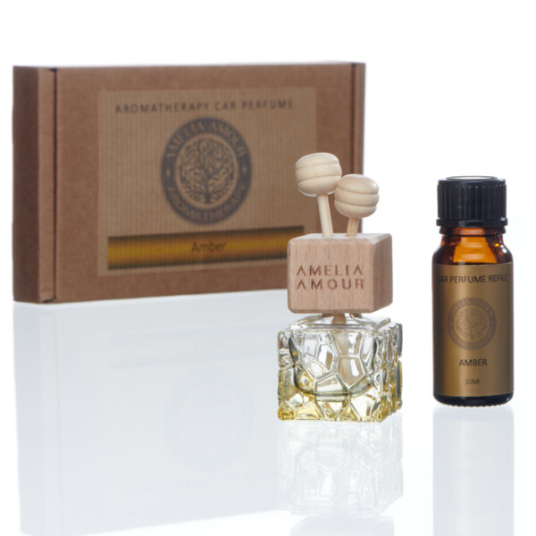 Aromatherapy Car Perfume & Refill bottle. Amber - Oud